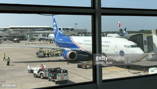 An Alaska Airlines plane is parked at a gate of Puerto Vallarta International Airport on November 9 in Jalisco Mexico