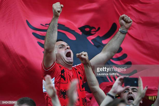 An Albania fan enjoys the pre match atmosphere during the UEFA EURO 2016 Group A match between France and Albania at Stade Velodrome on June 15 2016...