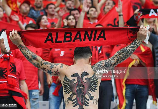 An Albania fan shows off his body art prior to the UEFA EURO 2016 Group A match between France and Albania at Stade Velodrome on June 15 2016 in...