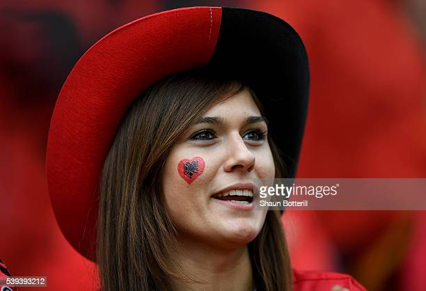 An Albania supporter enjoys the atmosphere prior to the UEFA EURO 2016 Group A match between Albania and Switzerland at Stade BollaertDelelis on June...