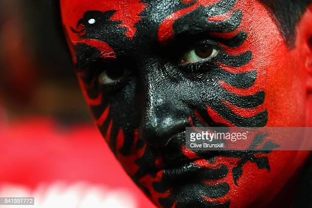 An Albania supporter looks on during the UEFA EURO 2016 Group A match between Romania and Albania at Stade des Lumieres on June 19 2016 in Lyon France