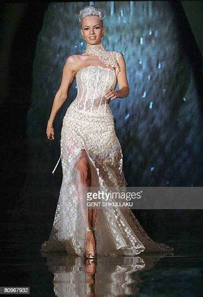 An Albanian model presents a gown by Linea Sposa the Italian wedding dress line as some 71 creations by Geraldina Sposa were presented on May 02 2008...