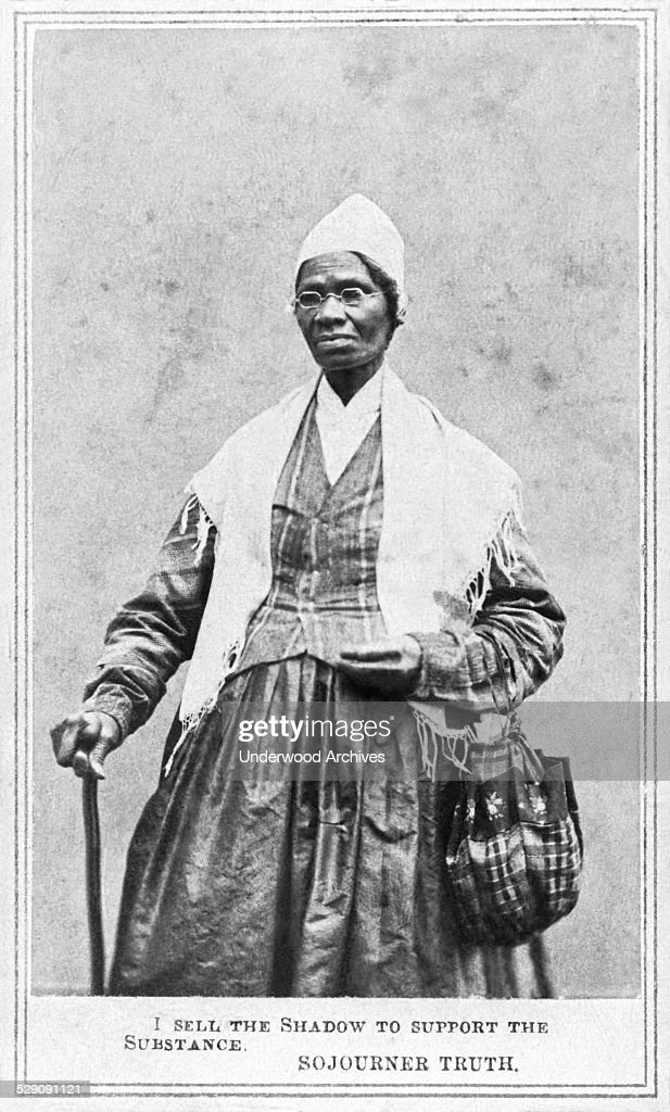 An albumen carte de viste portrait of abolitionist and women's rights advocate Sojourner Truth, Detroit, Michigan, 1864. The caption for the image was: 'I sell the shadow to support the substance'.
