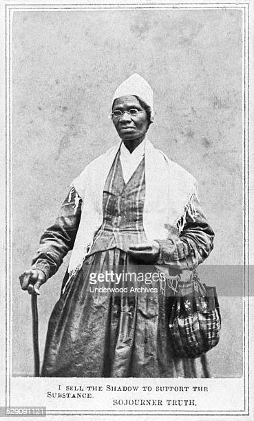 An albumen carte de viste portrait of abolitionist and women's rights advocate Sojourner Truth Detroit Michigan 1864 The caption for the image was 'I...