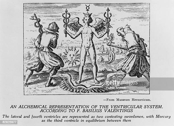 An alchemical representation of the ventricular system according to F Basilius Valentinus or Basil Valentine from the 'Musaeum Hermeticum' 1625 The...