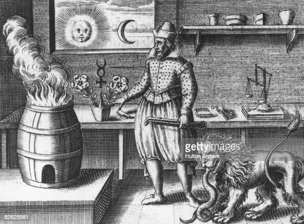 An alchemist in his laboratory searches for the legendary philosopher's stone 1618 An engraving from 'Tripus Aureus' published in 1618 by Michael...