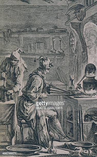 An alchemist's laboratory engraving by Charles Eisen France 18th century