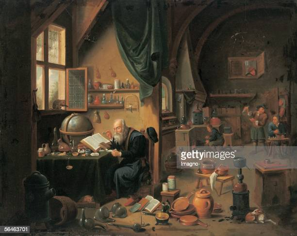 An alchemist's workshop by David Teniers circle of oil on canvas 73 x 92 cm framed [Eine Alchemistenwerkstatt von David Teniers Umkreis oel auf...