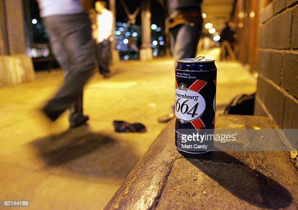 An alcoholic drinks can discarded by late night drinkers litters the street on February 5 2005 in Bristol England This weekend was the last one...