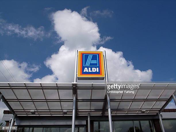 An Aldi discount supermarket on 3 July 2008 in Northwich England Whilst most of the UK's leading supermarkets and grocery stores are battling hard...
