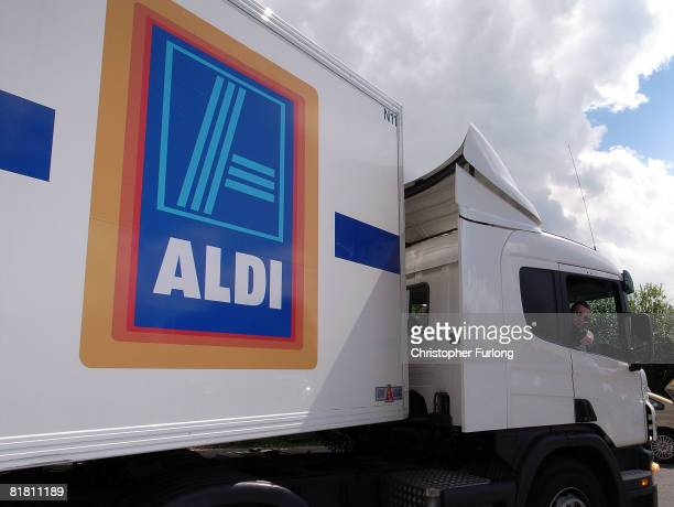 An Aldi discount supermarket receives a delivery on 3 July 2008 in Northwich England Whilst most of the UK's leading supermarkets and grocery stores...