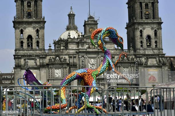 An alebrije traditional Mexican folk art sculptures representing fantastical creatures is on exhibit at the El Zocalo square during the 'In the heart...