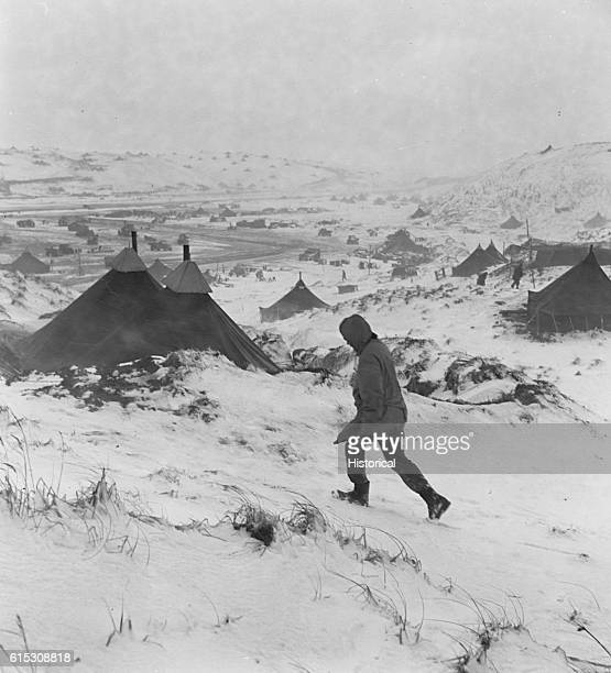 An Aleutian Islands Naval air base in middle of a blizzard March 1943