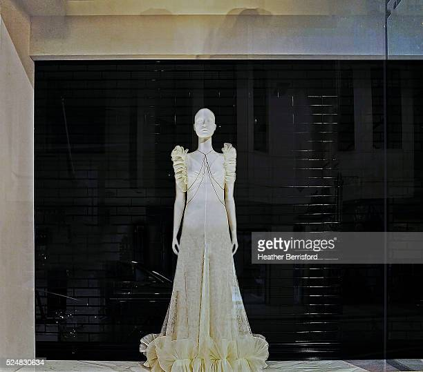 An Alexander McQueen window is seen as part of the World Fashion Window Displays on April 18, 2016 in London, England.