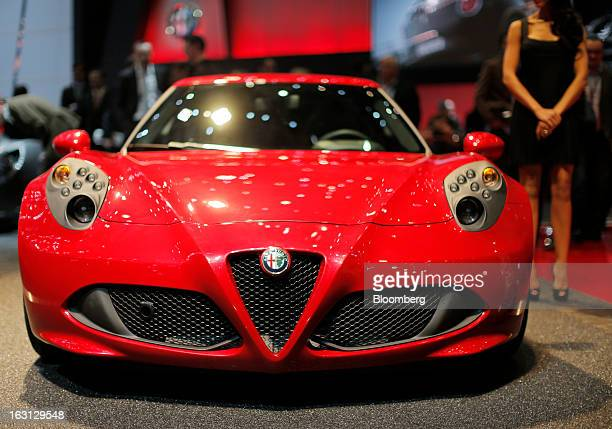 An Alfa Romeo 4C automobile produced by Fiat SpA is seen on display on the first day of the 83rd Geneva International Motor Show in Geneva...