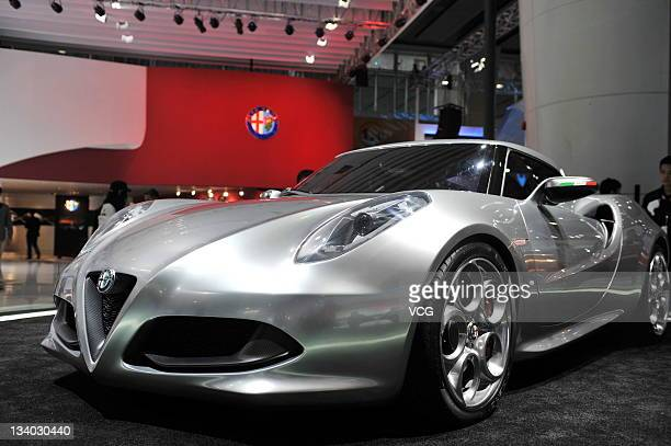 An Alfa Romeo 4C concept car is displayed during the 9th China International Automobile Exhibition at China Import and Export Fair Complex on...