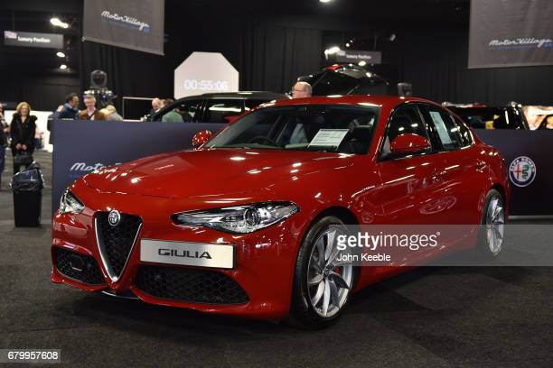 An Alfa Romeo Giulia on display at the London Motor Show at Battersea Evolution on May 4 2017 in London England 41 dealerships and manufacturers will...