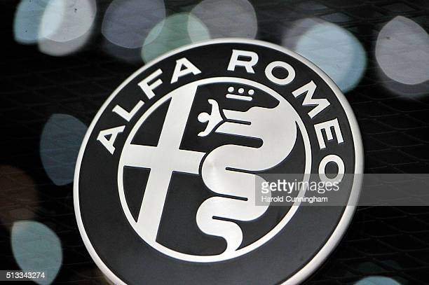 An Alfa Romeo logo is displayed during the Geneva Motor Show 2016 on March 2 2016 in Geneva Switzerland