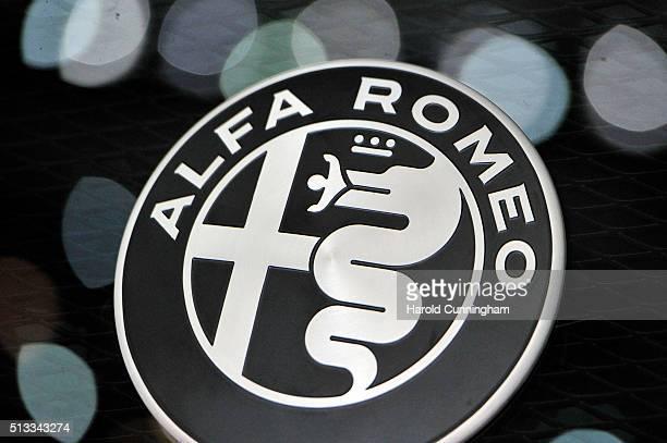 An Alfa Romeo logo is displayed during the Geneva Motor Show 2016 on March 2 2016 in Geneva Switzerland