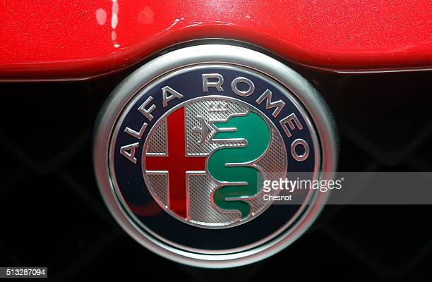 An Alfa Romeo logo is seen during the second press day of the 86th Geneva International Motor Show on March 2 2016 in Geneva Switzerland The 86th...