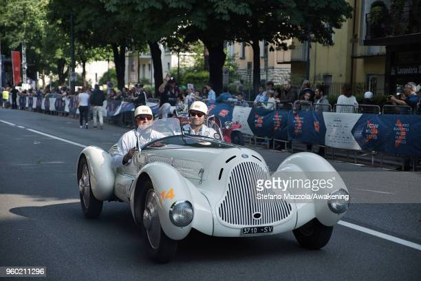 An Alfa Romeo TIPO 6C 1750 GS APRILE passes through the city center of Brescia during the last day of the 1000 Miles Historic Road Race during Mille...