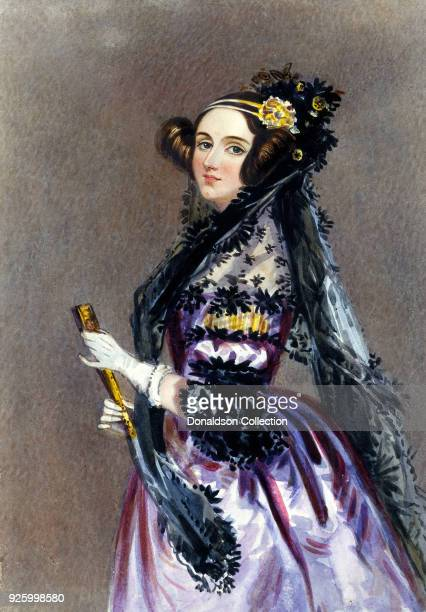 An Alfred Edward Chalon watercolor of Augusta Ada KingNoel Countess of Lovelace daughter of Lord Byron circa 1940