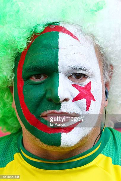 An Algeria fan looks on prior to the 2014 FIFA World Cup Brazil Group H match between South Korea and Algeria at Estadio BeiraRio on June 22 2014 in...
