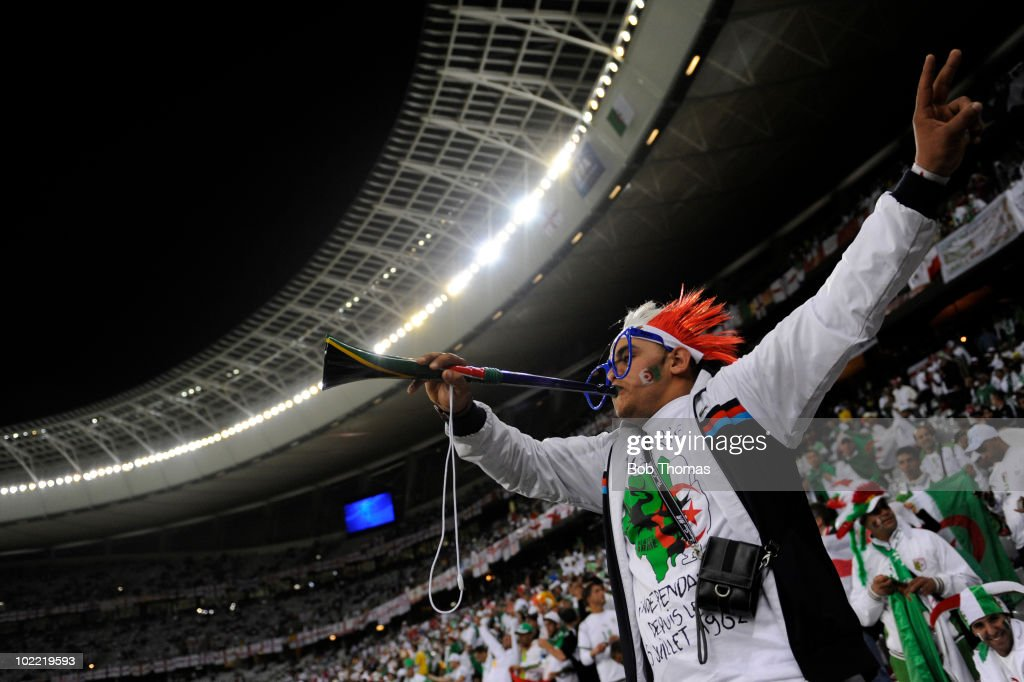 An Algeria fan with his vuvuzela before the start of the 2010 FIFA World Cup South Africa Group C match between England and Algeria at Green Point Stadium on June 18, 2010 in Cape Town, South Africa. The match was drawn 0-0.