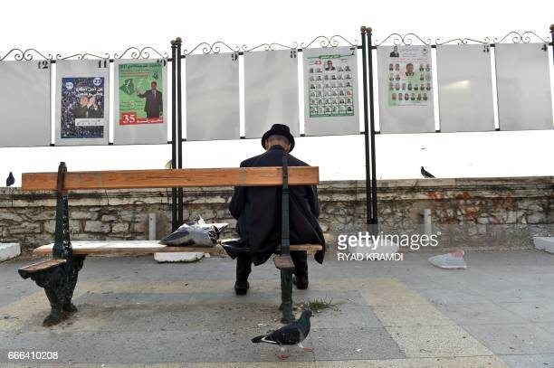 An Algerian man sits on a bench in Algiers' Martyrs Square in front of electorial campaign posters for the upcoming legislative elections as the...