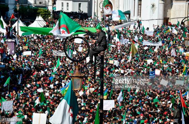 An Algerian protester waves a national flag as he sits atop a light pole above other protesters marching with national flags and protest signs during...