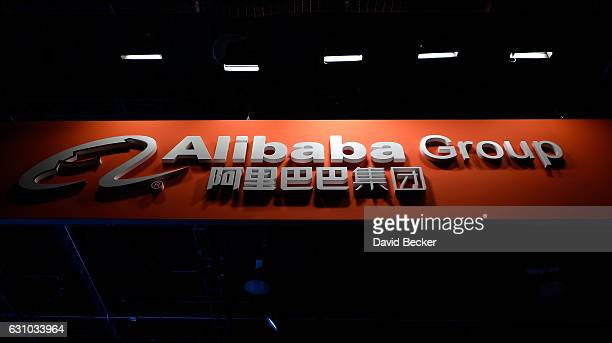 An Alibaba Group sign is displayed at the its booth at CES 2017 at the Las Vegas Convention Center on January 5, 2017 in Las Vegas, Nevada. CES, the...