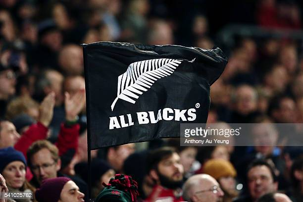 An All Blacks flag is seen during the International Test match between the New Zealand All Blacks and Wales at Westpac Stadium on June 18 2016 in...