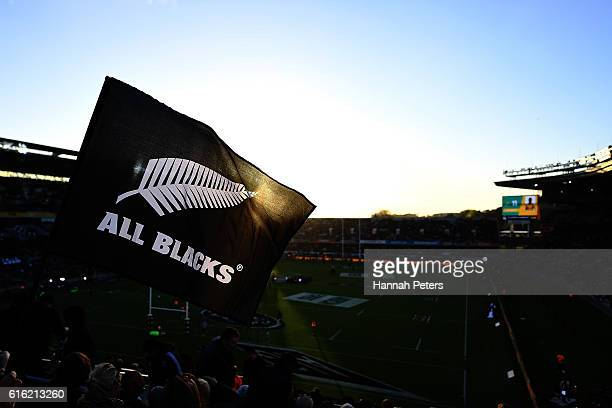An All Blacks flag waves during the Bledisloe Cup Rugby Championship match between the New Zealand All Blacks and the Australia Wallabies at Eden...