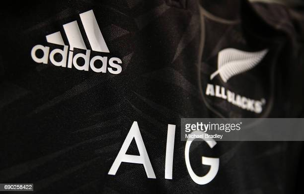 An All Blacks jersey is seen during the New Zealand All Blacks adidas jersey launch at adidas Newmarket Store on May 31 2017 in Auckland New Zealand