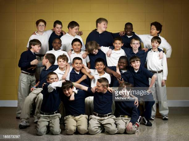 An all boy class of fourthgraders at Foley Intermediate School are photographed for New York Times Magazine on February 14 2008 in Foley Alabama...
