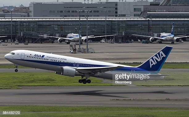 An All Nippon Airways Co aircraft takes off at Haneda Airport in Tokyo Japan on Thursday July 28 2016 ANA is scheduled to release fullyear earnings...
