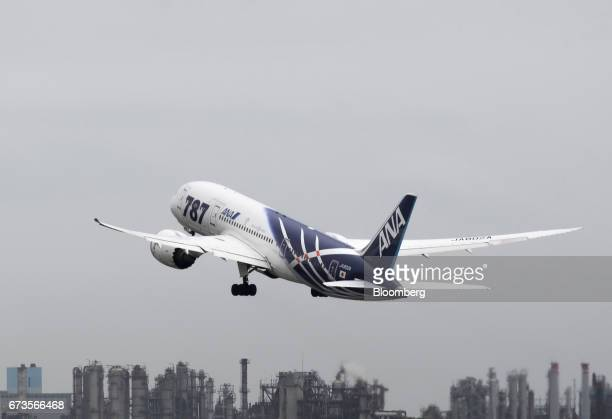 An All Nippon Airways Co Boeing Co 787 Dreamliner aircraft takes off at Haneda Airport in Tokyo Japan on Wednesday April 26 2017 ANA is scheduled to...