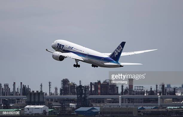 An All Nippon Airways Co Boeing Co 787 Dreamliner takes off at Haneda Airport in Tokyo Japan on Thursday July 28 2016 ANA is scheduled to release...