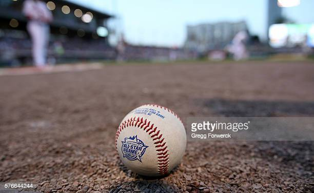An All Star game logo baseball is photographed during the Sonic Automotive TripleA Baseball All Star Game at BBT Ballpark on July 13 2016 in...
