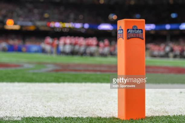 An All State Sugar Bowl pylon sits on the backline of the endzone during a timeout during the Sugar Bowl football game between the Texas Longhorns...