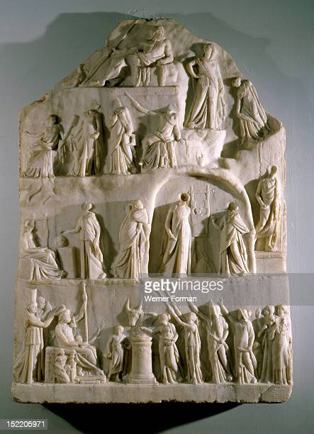 An allegorical representation of The Apotheosis of Homer signed by a sculptor from Priene a Greek town in Asia Minor Shows allegorical figures and at...