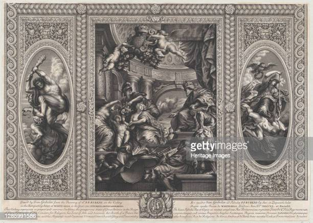 An allegorical scene showing the benefits of James' reign at center, Wise Government trampling Rebellion at right, and Liberty trampling Avarice at...