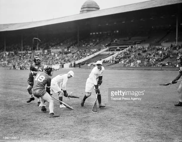 An allEngland lacrosse team playing the Rensselaer team from the USA in a demonstration match at Wembley Stadium during the London Olympic Games 6th...