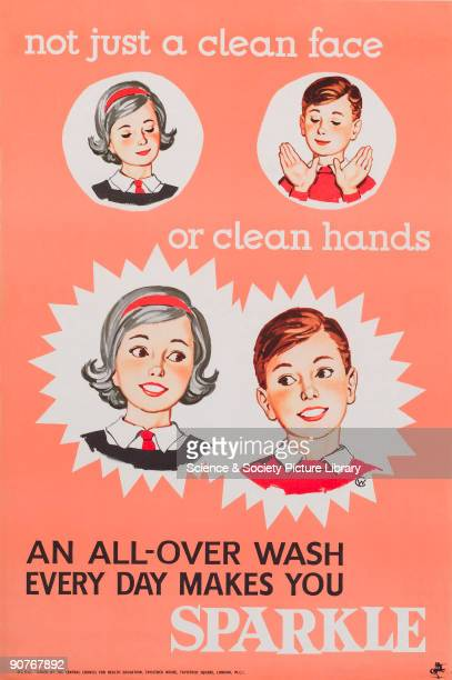 �An allover wash every day makes you sparkle� Poster issued by the Central Council for Health Education One of a collection of 800 health education...