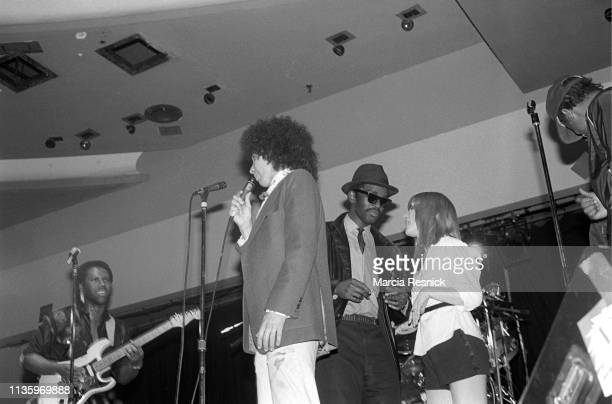 An allstar group performs onstage during a benefit concert at Bonds International Casino in Times Square New York New York May 7 1981 Pictured are...