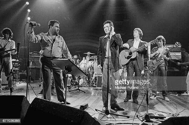 An allstar lineup performing on stage at a charity concert for ARMS held at the Royal Albert Hall London 20th September 1983 Left to right Jimmy Page...