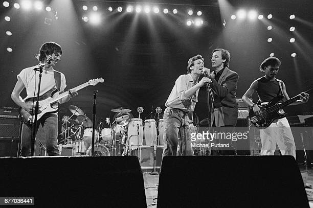 An allstar lineup performing on stage at a charity concert for ARMS held at the Royal Albert Hall London 20th September 1983 Left to right Jeff Beck...