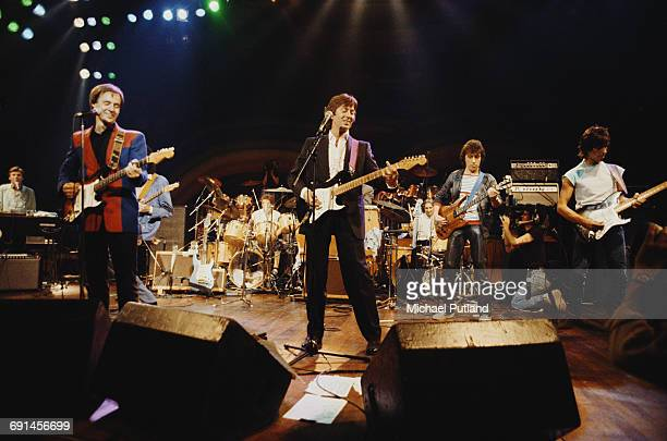 An allstar lineup performing on stage at a charity concert for ARMS held at the Royal Albert Hall London 20th September 1983 Left to right Steve...