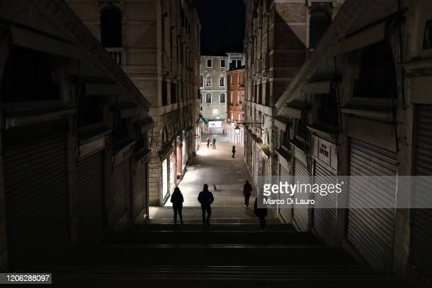 """An almost empty Rialto bridge is seen on March 9, 2020 in Venice, Italy. Prime Minister Giuseppe Conte announced a """"national emergency"""" due to the..."""