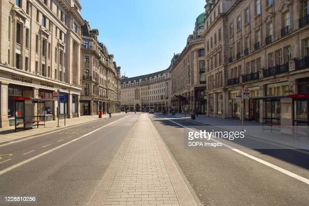 An almost entirely deserted Regent Street during lockdown. A usually bustling Regent Street resembles a ghost town during the nationwide coronavirus...